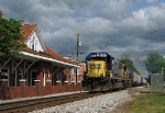 CSX A708 -20 accelerates out of town past the Winder depot