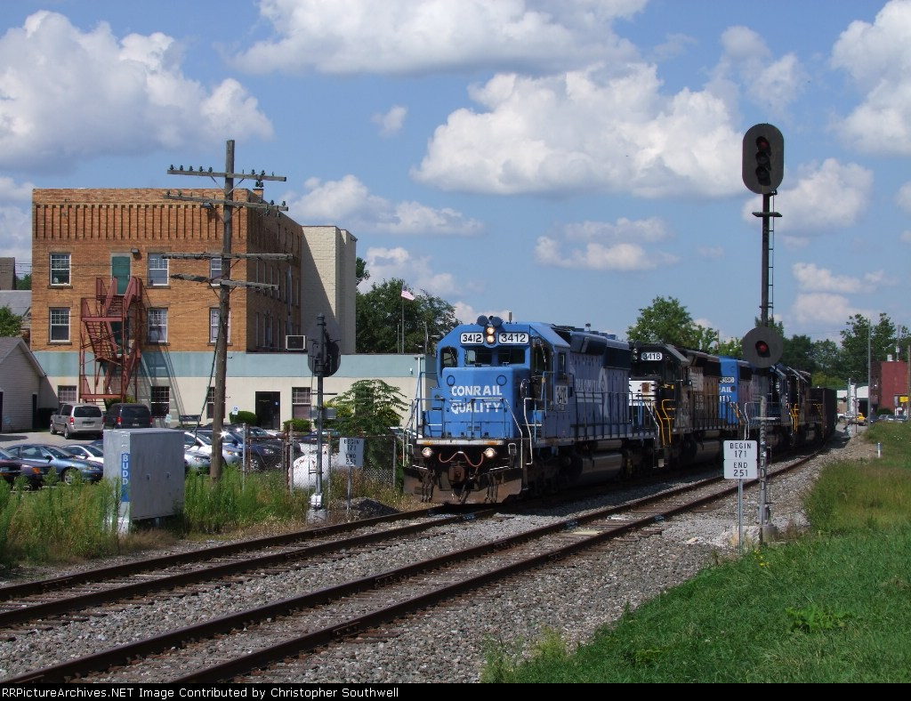 C57 has 108 cars of westbound freight starting through BUDD interlocking with an amazing consist as well
