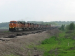 BNSF 7285 leads 10 more units off the hill with a short intermodal