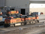 BNSF 7636 & 962 with 4477 sitting just outside the shop