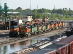 Lots of BNSF power waits on the ready tracks