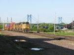 IG2OA rolls away from the US-30 suspension bridge over the Mississippi
