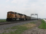 BNSF 9979 leads a train of mostly 2 week old coal gons east