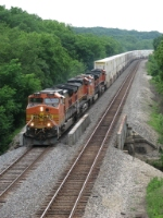 BNSF 4153 crosses Court Creek as it leads its' stacks up Track 2