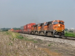 BNSF 7494 charges east with doubles stacks