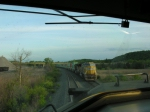We are southbound on the siding meeting a northbound behind UP power at 643pm