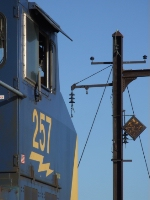 CSX 257 sitting on Upper Bay bridge looking at some of the PRR's former electrification