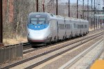 DC bound Acela set barrels into and through the station on track 2