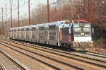 An eastbound NJT sunday local departs  for Newark and NYC with a modern consist from front to rear