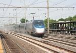 One of the many ACELA express trains roars south towards Washington