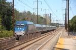 One of Amtraks HHP electric locomotives flies south through the station, DC bound