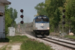 AMTK 90221 accelerating away from the new station at Sturtevant