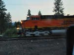 BNSF 7307 flashes past me in this early 0539 am shot as she leads a westbound Z into Whitefish, Mt. for a crew change.