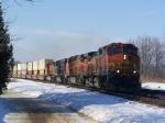 Eastbound Piggyback Train Speeds Through a Curve