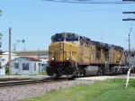 UP 7293 Moves Over a Crossing Near the Railroad Park Diamond