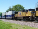 UP 3866 Is Another Motor With a Fading US Flag