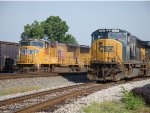 CSX 4582 and UP 4956 heading up respective trains
