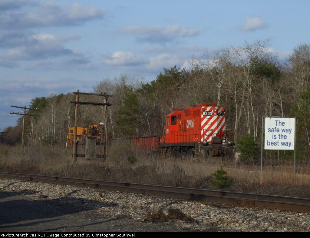 Work train sitting on the Albany main