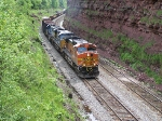 BNSF 5368 slowing to a crawl in order to let the rear helpers return to connellsville.