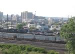 Three MBTA GP40MC's tied up in Oak Island Yard