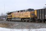 UP 6954 serves as DPU on the coal loads