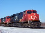 CN 2245 leads an older GE and an EMD on another SB not far behind