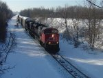 CN 8937 leads northbound racks and stacks (Q193)