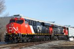 CN 2864 still shiny and clean leads a southbound