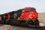 CN 2826 leads the southbound with another 2800 behind and a 3rd mid-train