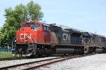 CN 8006 and an IC SD70 power M348 approaching Green Rd.