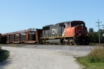 CN 5635 has a NB loaded rail train