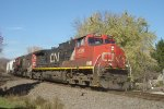 CN 2638 swings through the curve on the point of a southbound