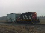 CN 4100 brought four boxcars down to Quad, and now heads back with one
