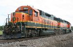 BNSF local heading for an industrial spur