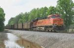 BNSF 5797 DPU on a NB coal train