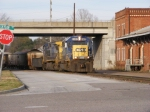 CSXT 8102 brings F019 into town from the rock quarry