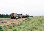 BNSF 993 leads a mixed load of airplane fuselages and various other rolling stock wb