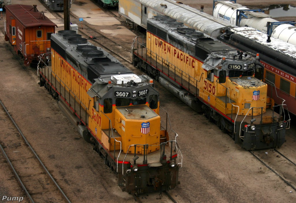 UP SD40-2's - UP 3607 and UP 3150