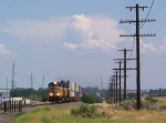 Short WB stack train hauls ass towards Portland.