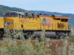 UP 7412 rolls north towards Ogden, Utah as a rear DPU on a eastbound Z-train.