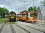 TMER&L 846 and open streetcar 21 await their Saturday excursion duty