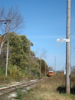 Vintage Chicago South Shore and South Bend trainset approaching Army Lake Siding