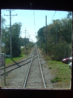 View through the front window of the track back to East Troy