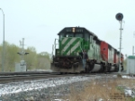 FURX 7277 SD40-2 backing up to freight empties
