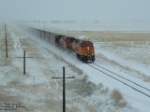 BNSF 4447 blowing up some snow