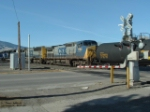 CSX 7760 C40-8W moving tanker car UTLX 662752 into the yard