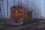ATSF 531 leads a matched set of GE B40-8W on the westbound #199 train