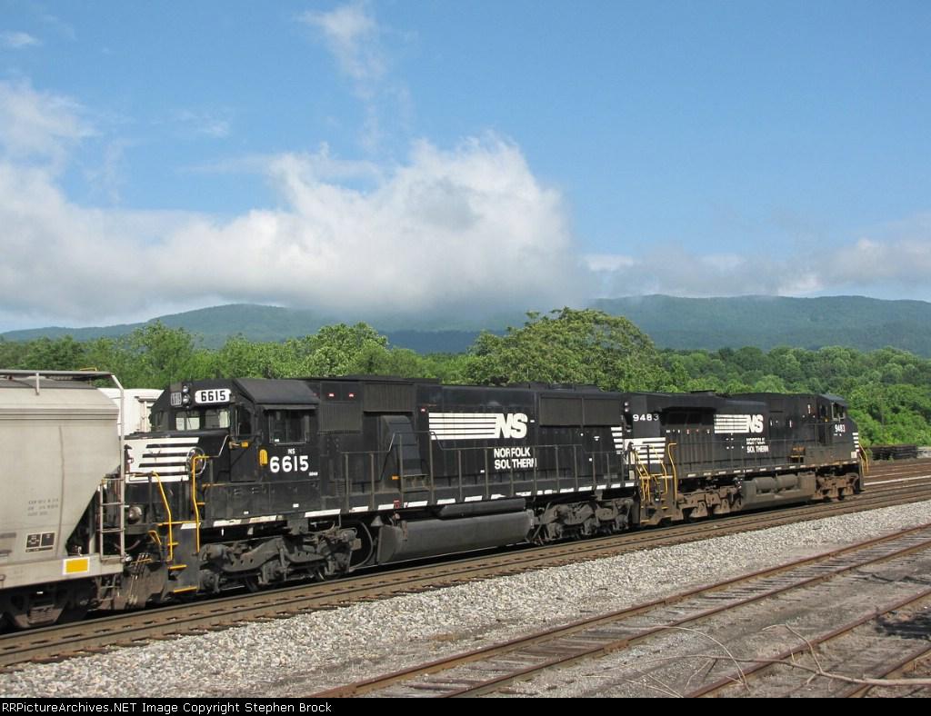Pusher units on a loaded grain train to be taken back to Harrisonburg