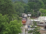 The V92 grain train is coming out from JMU and approaching S. Main St.