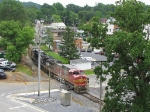 V92 approaching the CHW diamond as she snakes her way out of JMU and across S. Main St.